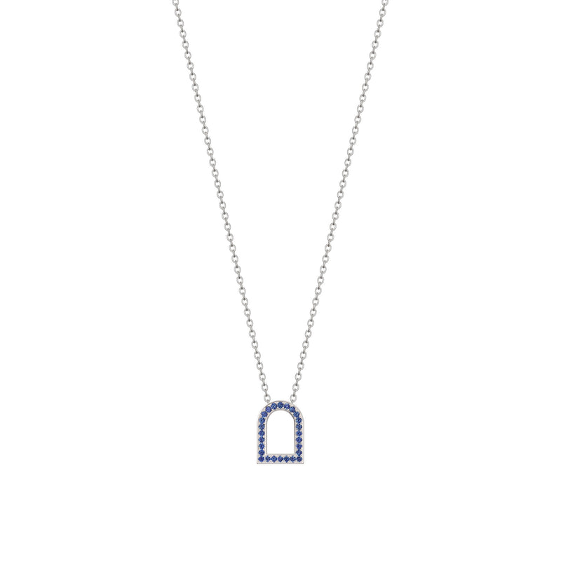 L'Arc Voyage Charm MM, 18k White Gold with Galerie Blue Sapphires on Chain Necklace