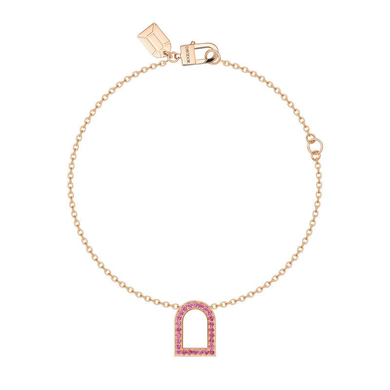 L'Arc Voyage Charm MM, 18k Rose Gold with Galerie Pink Sapphires on Chain Bracelet