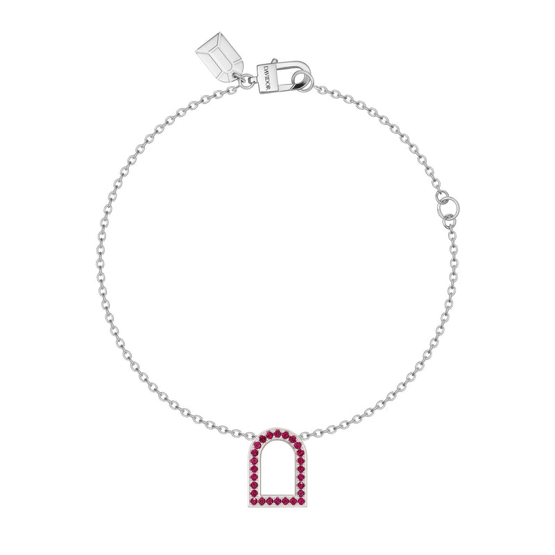 L'Arc Voyage Charm MM, 18k White Gold with Galerie Rubies on Chain Bracelet