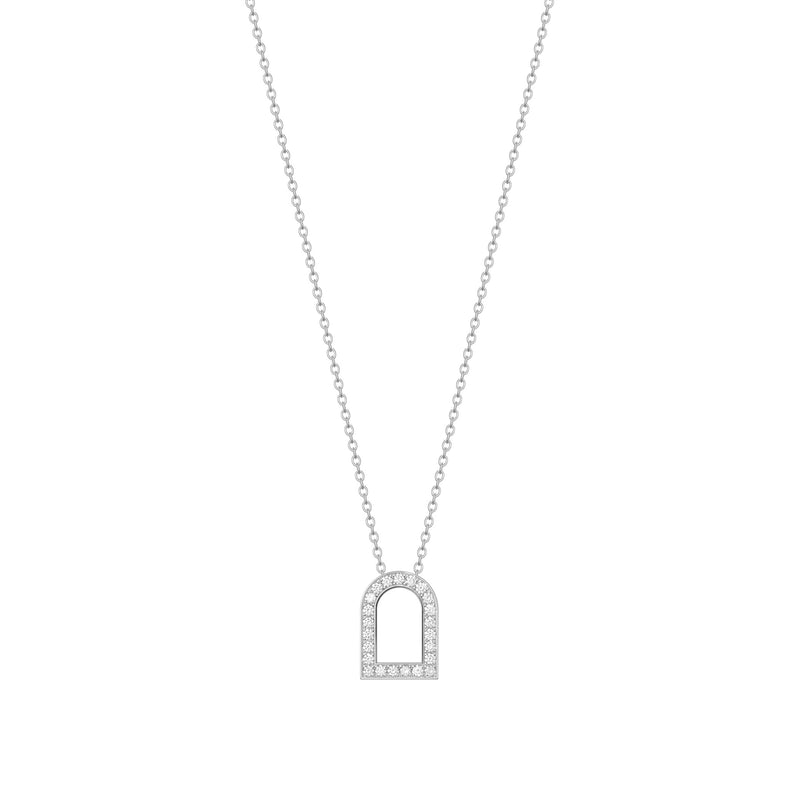 L'Arc Voyage Charm GM, 18k White Gold with Galerie Diamonds on Chain Necklace