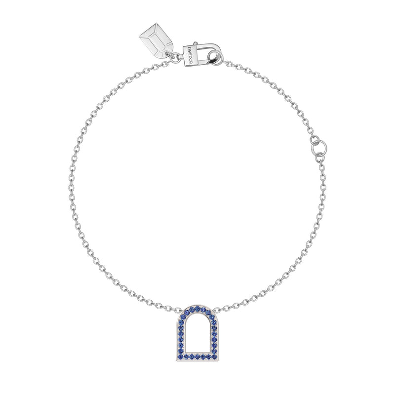 L'Arc Voyage Charm MM, 18k White Gold with Galerie Blue Sapphires on Chain Bracelet