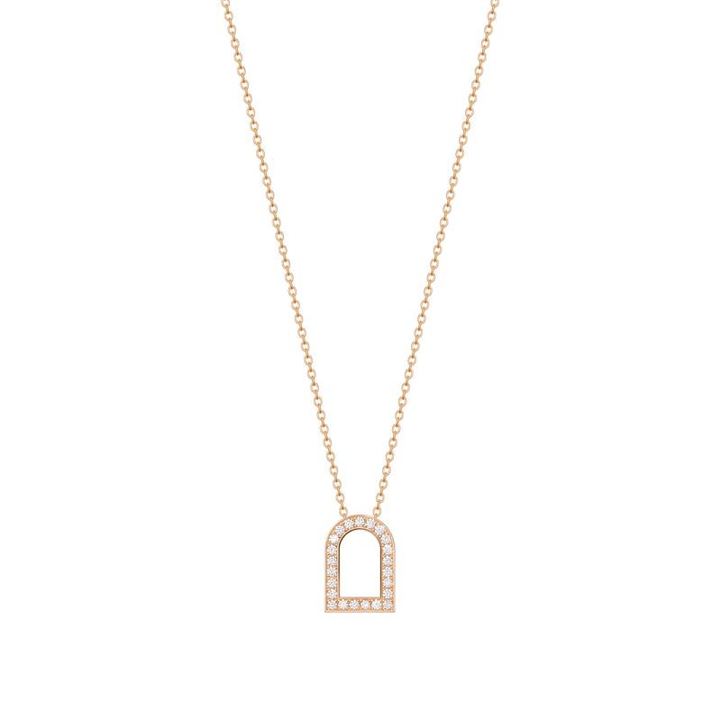 L'Arc Voyage Charm GM, 18k Rose Gold with Galerie Diamonds on Chain Necklace