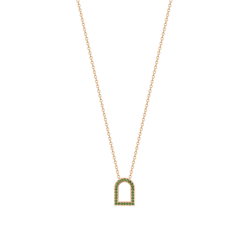L'Arc Voyage Charm MM, 18k Rose Gold with Galerie Tsavorites on Chain Necklace