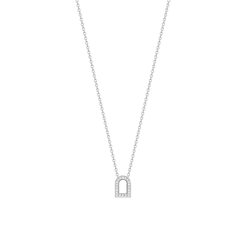 L'Arc Voyage Charm PM, 18k White Gold with Galerie Diamonds on Chain Necklace