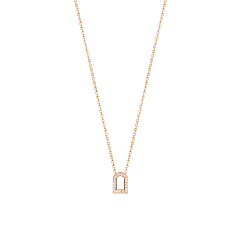 L'Arc Voyage Charm PM, 18k Rose Gold with Galerie Diamonds on Chain Necklace