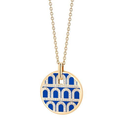 L'Arc de DAVIDOR Pendant GM, 18k Yellow Gold with Lacquered Ceramic and Palais Diamonds