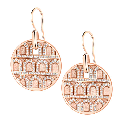 L'Arc de DAVIDOR Pendant Earring GM, 18k Rose Gold with Satin Finish and Palais Diamonds