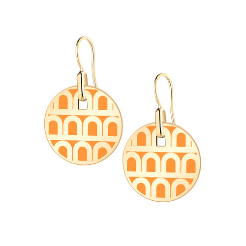 L'Arc de DAVIDOR Pendant Earring PM, 18k Yellow Gold with Lacquered Ceramic