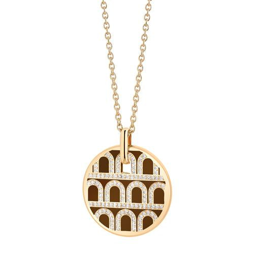 L'Arc de DAVIDOR Pendant GM, 18k Yellow Gold with lacquer and Palais Diamonds