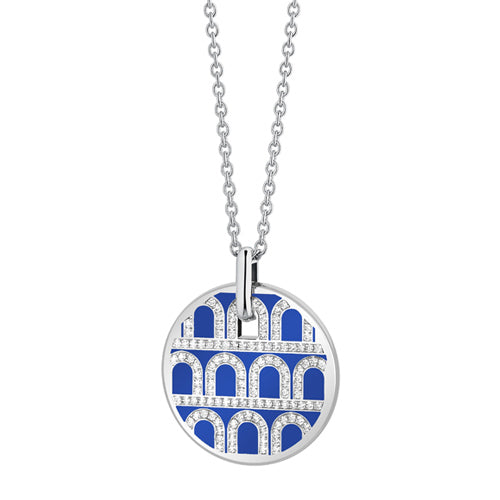 L'Arc de DAVIDOR Pendant GM, 18k White Gold with Lacquered Ceramic and Palais Diamonds
