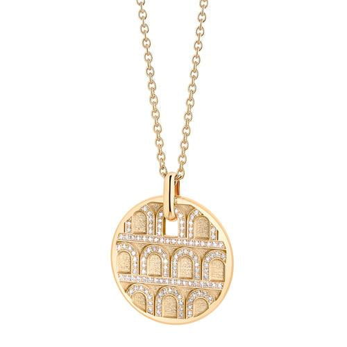 L'Arc de DAVIDOR Pendant GM, 18k Yellow Gold with Satin Finish and Palais Diamonds