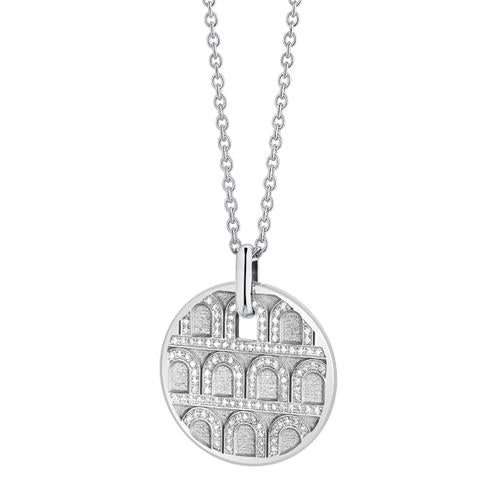 L'Arc de DAVIDOR Pendant GM, 18k White Gold with Satin Finish and Palais Diamonds