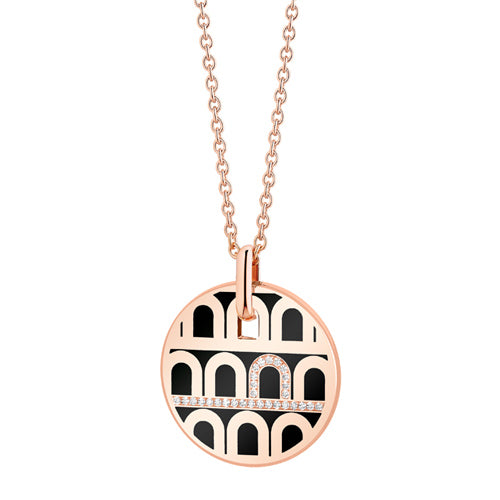 L'Arc de DAVIDOR Pendant GM, 18k Rose Gold with lacquer and Porta Diamonds