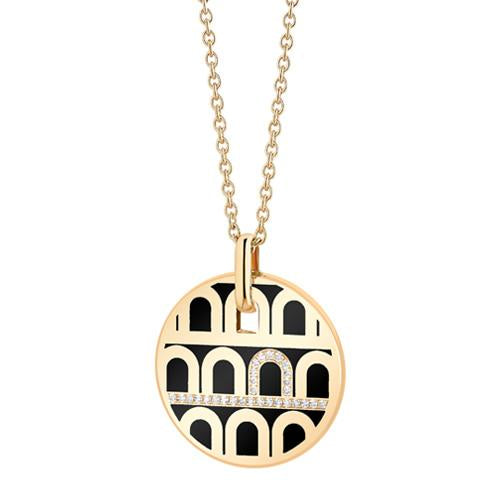 L'Arc de DAVIDOR Pendant GM, 18k Yellow Gold with Lacquered Ceramic and Porta Diamonds