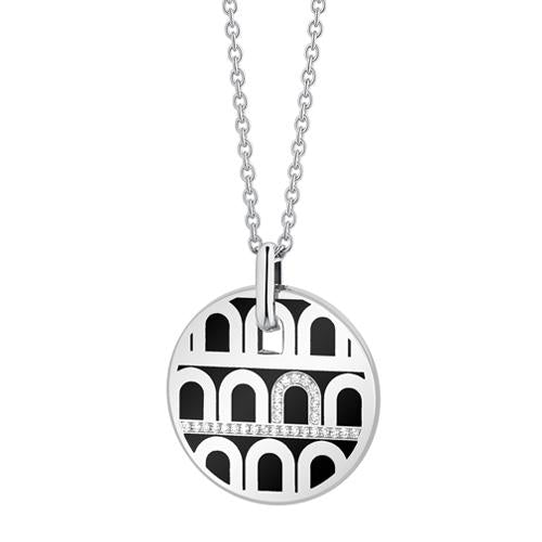 L'Arc de DAVIDOR Pendant GM, 18k White Gold with Lacquered Ceramic and Porta Diamonds