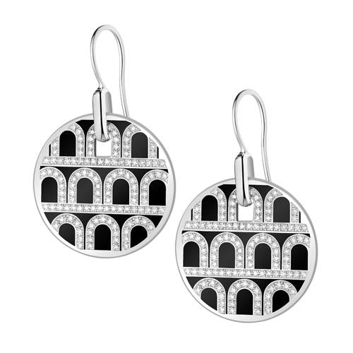 L'Arc de DAVIDOR Pendant Earring GM, 18k White Gold with lacquer and Palais Diamonds
