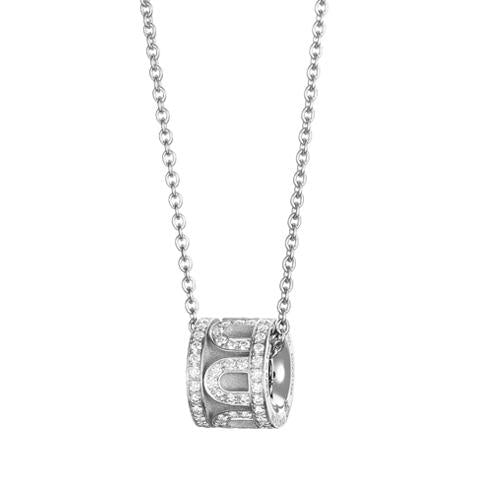 L'Arc de DAVIDOR Bead, 18k White Gold with Satin Finish and Palais Diamonds