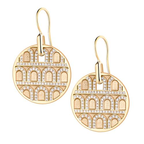 L'Arc de DAVIDOR Pendant Earring GM, 18k Yellow Gold with Satin Finish and Palais Diamonds