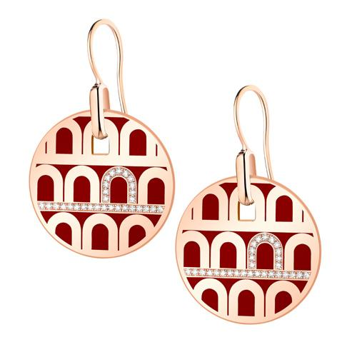 L'Arc de DAVIDOR Pendant Earring GM, 18k Rose Gold with lacquer and Porta Diamonds