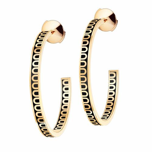 L'Arc de DAVIDOR Creole Earring MM, 18k Yellow Gold with lacquer