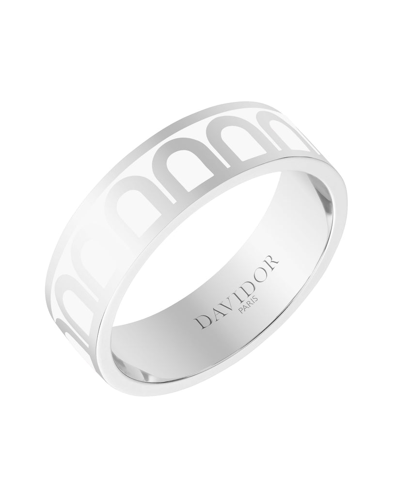 L'Arc de DAVIDOR Ring MM, 18k White Gold with Lacquered Ceramic