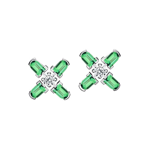 Arch Florale PM Stud Earrings, 18k White Gold with DAVIDOR Arch Cut Green Tourmaline and Brillant Diamonds