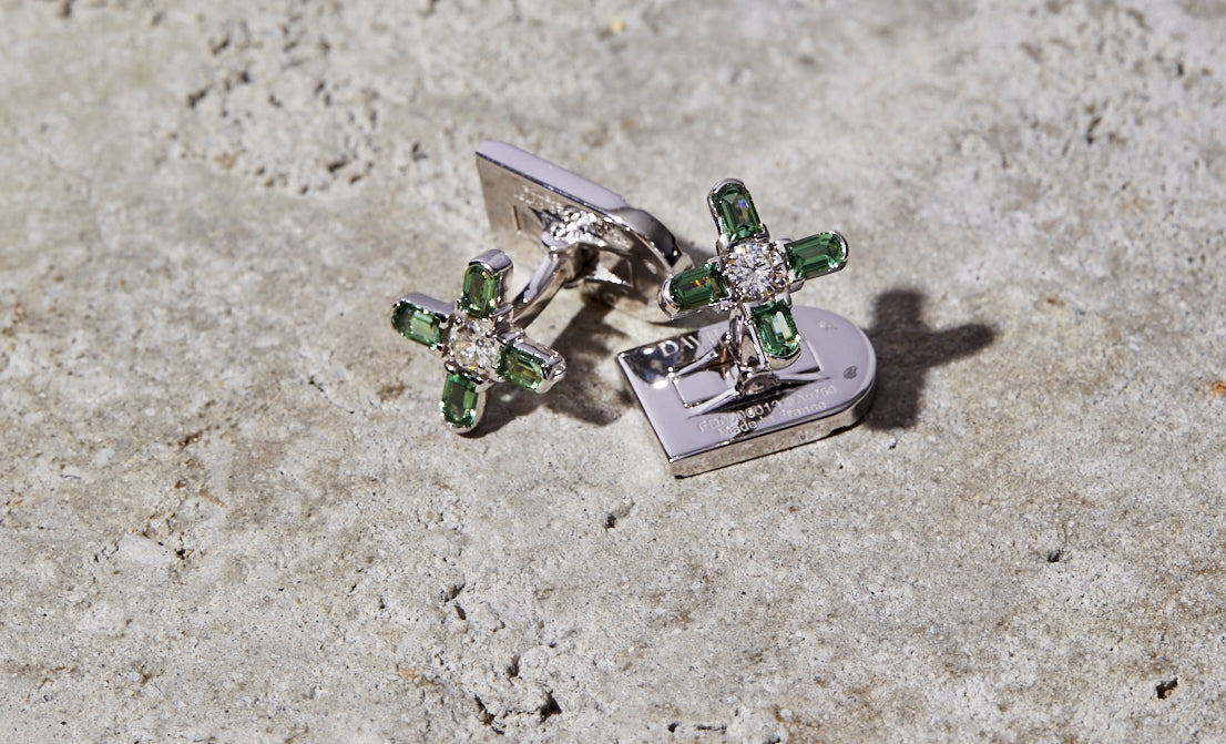 Arch Florale MM Cufflinks, 18k White Gold, Arch Cut Green Tourmaline and Brilliant Diamonds