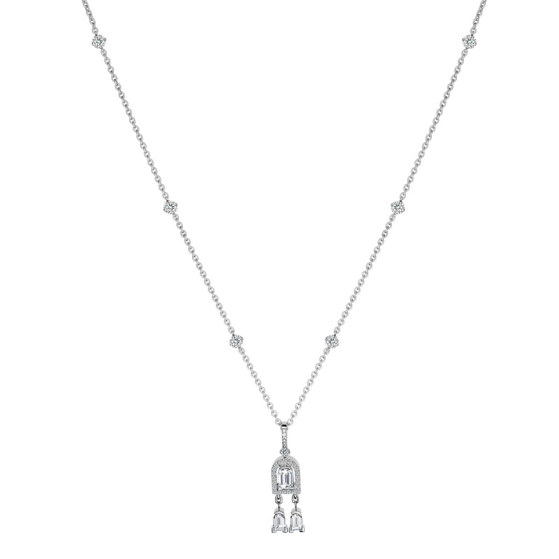 Diamant Sculptural Dangling Necklace, 18k White Gold, Arch Cut Diamond and Brilliant Diamonds