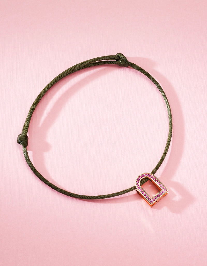 L'Arc Voyage Charm MM, 18k Rose Gold with Galerie Pink Sapphires on Silk Cord