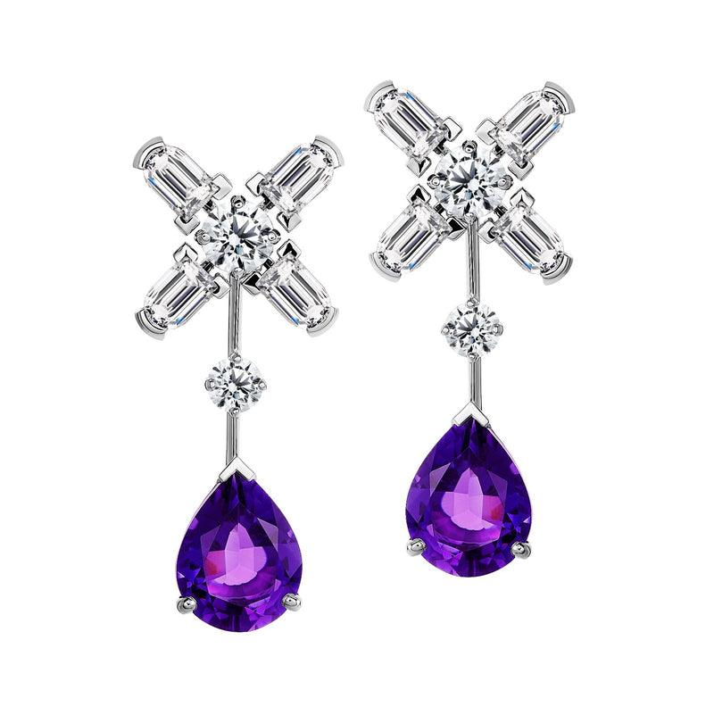 Arch Florale MM Stud Earrings, 18k White Gold with DAVIDOR Arch Cut Diamonds, Brilliant Diamonds and Amethyst Pear Shaped Drops