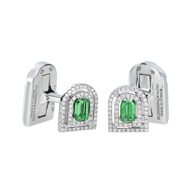 Couleur Sculptural Cufflinks, 18k White Gold, Arch Cut Green Tourmaline and Brilliant Diamonds