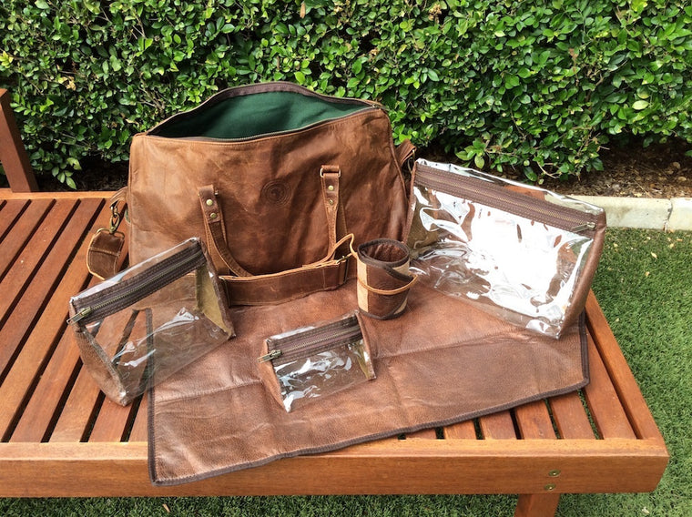 Dad Bag Set (chocolate with deep green canvas lining)