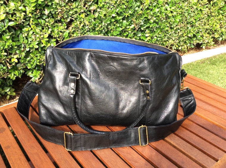 Dad Bag (black with royal blue lining)