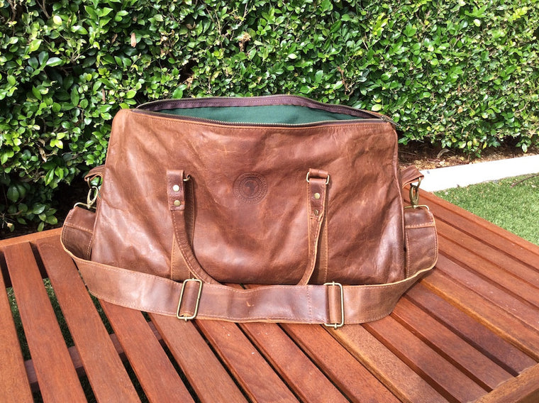 Dad Bag (chocolate with deep green canvas lining)