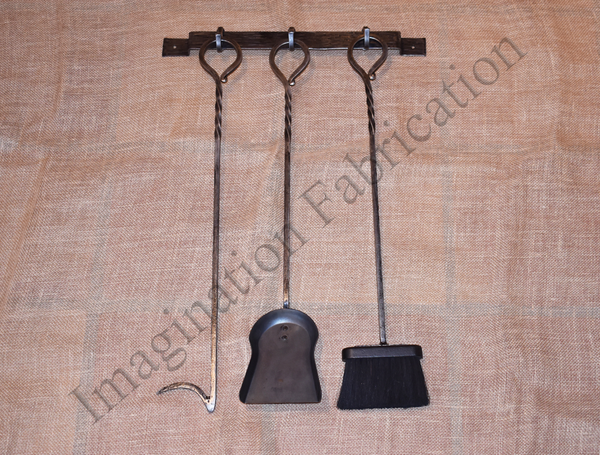 Hand-Forged Iron Fireplace Tool Set (3 Piece Hanging)