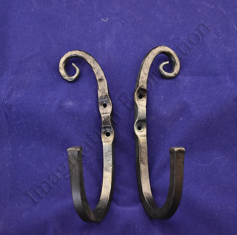 Large Reverse Vintage Scroll Hooks (Pair)