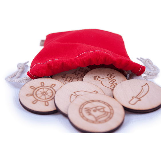 Wooden Memory Game Pirates Edition with a Red bag