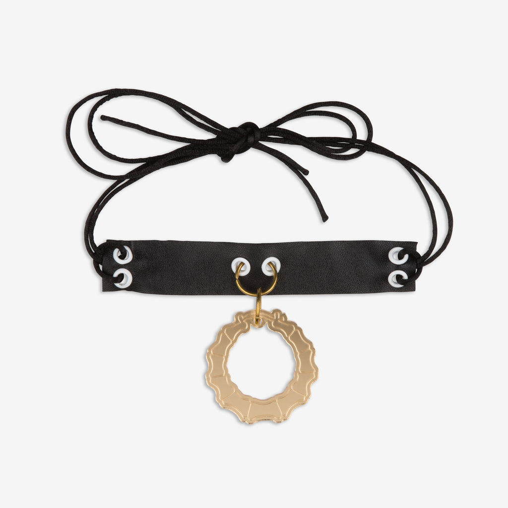 Black leather anklet / choker with gold perspex bamboo earring
