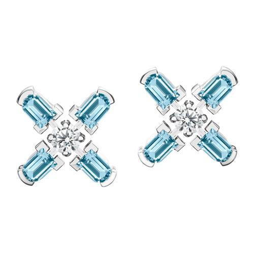 Arch Florale MM Stud Earrings, 18k White Gold with DAVIDOR Arch Cut Aquamarines and Brilliant Diamonds