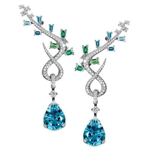 Feuillage High Jewelry Earrings, 18k White Gold with DAVIDOR Arch Cut Aquamarines and Green Tourmalines, Brilliant Diamonds and Pear shape Aquamarines