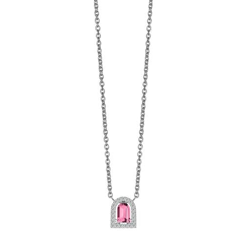 Couleur Sculptural Pendant Necklace, 18k White Gold with DAVIDOR Arch Cut Pink Tourmaline and Brilliant Diamonds