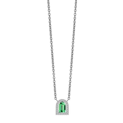 Couleur Sculptural Pendant Necklace, 18k White Gold with DAVIDOR Arch Cut Green Tourmaline and Brilliant Diamonds