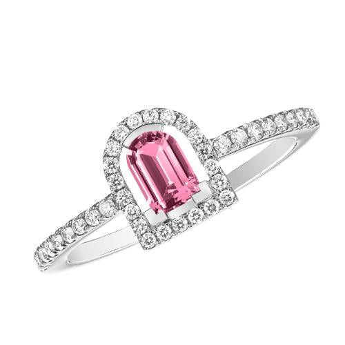 Couleur Sculptural Ring, 18k White Gold with DAVIDOR Arch Cut Pink Tourmaline and Brilliant Diamonds