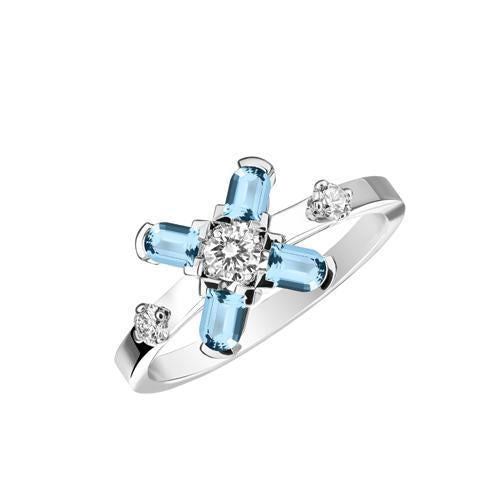 Arch Florale PM Ring, 18k White Gold with DAVIDOR Arch Cut Aquamarines and Brilliant Diamonds