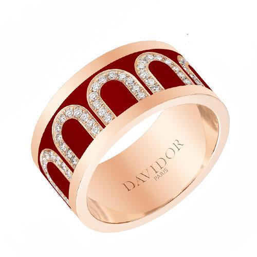 Men's L'Arc de DAVIDOR Ring GM, 18k Rose Gold with lacquer and Arcade Diamonds