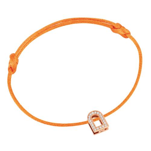 Men's L'Arc Voyage bracelet, 18k Rose Gold and Brilliant Diamonds on silk cord
