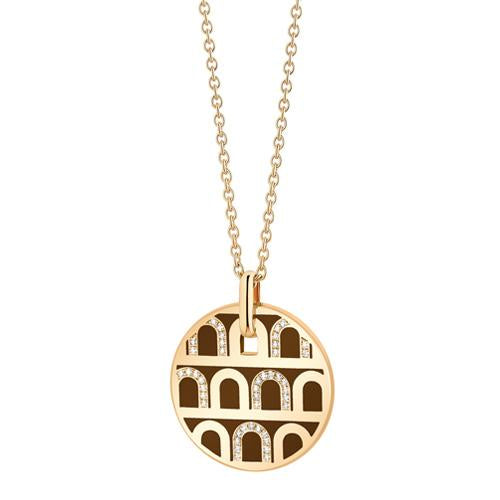 L'Arc de DAVIDOR Pendant GM, 18k Yellow Gold with Lacquered Ceramic and Colonnato Diamonds