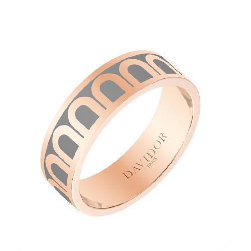 Men's L'Arc de DAVIDOR Ring MM, 18k Rose Gold with Lacquered Ceramic