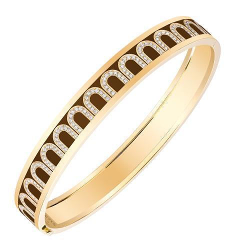 Men's L'Arc de DAVIDOR Bangle MM, 18k Yellow Gold with Lacquered Ceramic and Arcade Diamonds