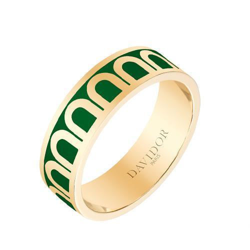 Men's L'Arc de DAVIDOR Ring MM, 18k Yellow Gold with Lacquered Ceramic